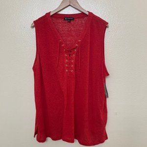 NWT INC Plus Red Linen Blend Lace Up Tank